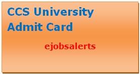 CCS University Admit Card 2017