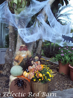 Halloween display, pumpkin spiders, bluish pumpkin