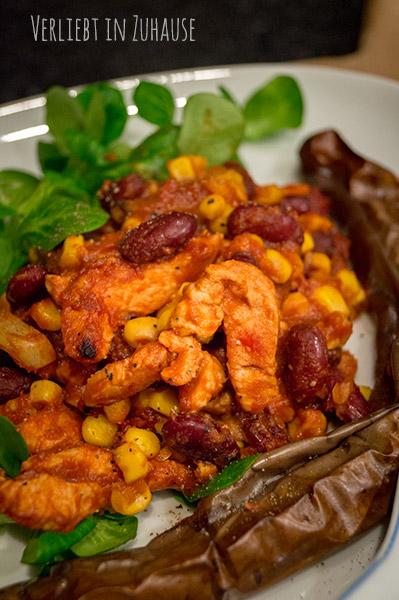 Blog Dinner -Rezept zwei Personen: Asiatisches Chili con pavo mit japanischen Auberginen
