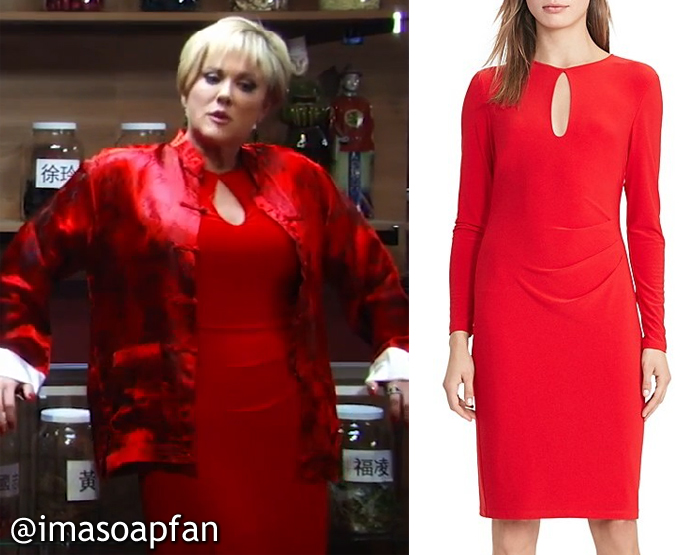 Olivia Jerome, Tanja Walker, Red Keyhole Dress, Lauren Ralph Lauren, GH, General Hospital,