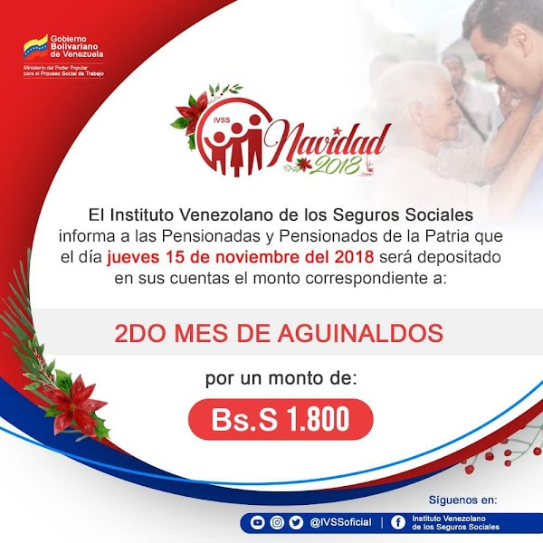 IVSS informa: Este jueves 15 de noviembre deposito del segundo mes de aguinaldos a pensionados