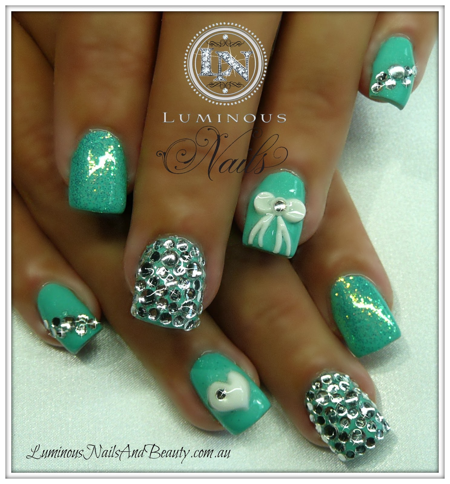 Colorful Acrylic Nails With 3d Bows Picture Mold