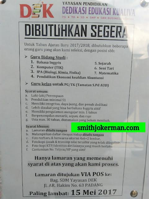Lowongan Kerja Padang: Yayasan Dedikasi Edukasi Kualiva Mei 2017