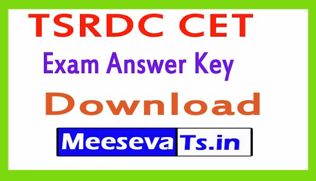 TSRDC CET Exam Answer Key Download 2018