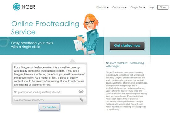 ginger proofreading tool