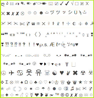 Fun Facebook Status Graphics: Cool Symbols for Facebook ... Symbols Copy And Paste Cool