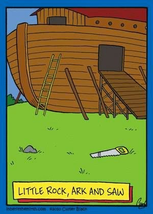 Funny little rock ark and saw pun cartoon joke picture