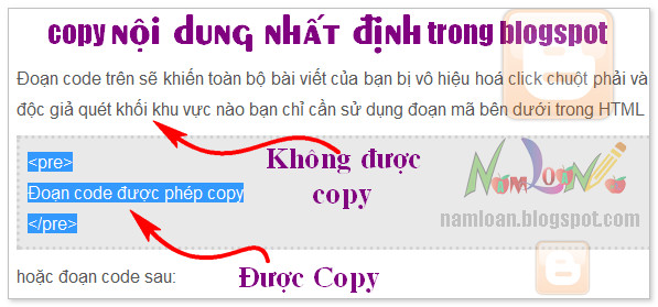 Chỉ cho phép copy nội dung định trước trong blogspot