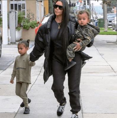 Kardashian West with son saint and daughter north