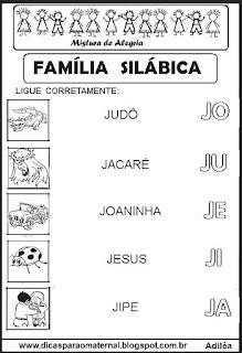 Famílias silábicas alfabetização letra J