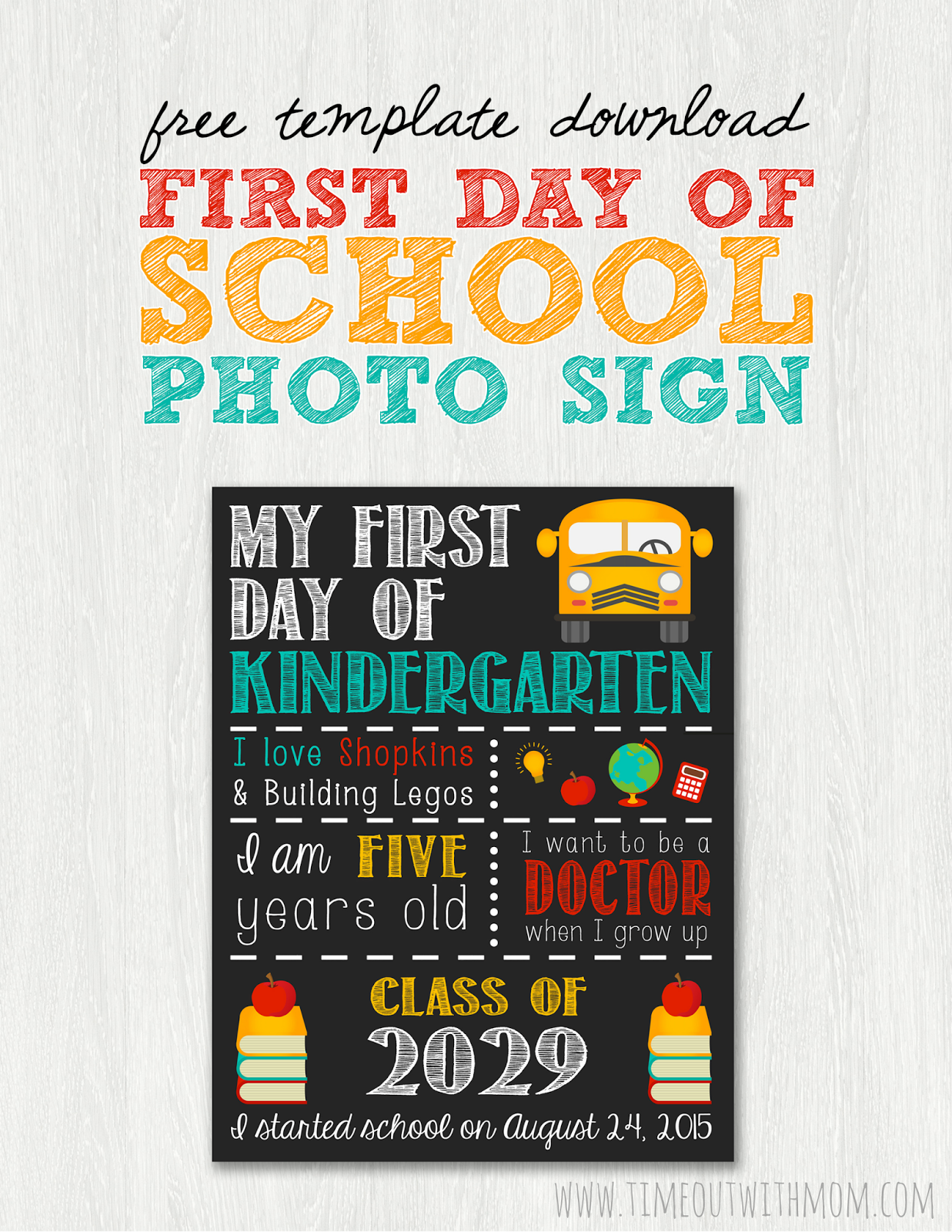 Back to school sign template and tutorial for First day of school sign template