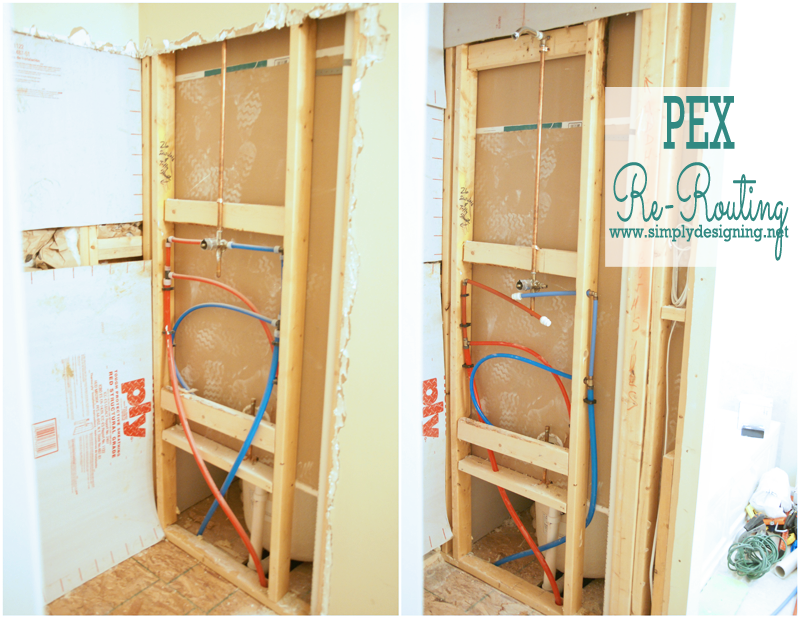 Master bathroom remodel part 3 prep for shower remodel for Using pex for drain lines