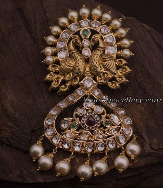 Peacock Pendants with Flat Diamonds