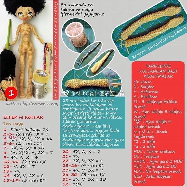 Амигуруми. Куколка Мулатка крючком (3)
