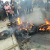 Graphic Photos: Suspected thief burnt to death by angry mob in Finger bus-stop, Badagry Expressway, Lagos