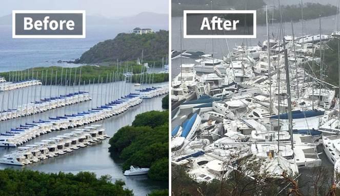 Protet Sebelum dan Sesudah Badai Irma Menerjang Kepulauan Karibia