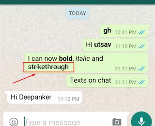 cara membuat kata bergaris di whatsapp