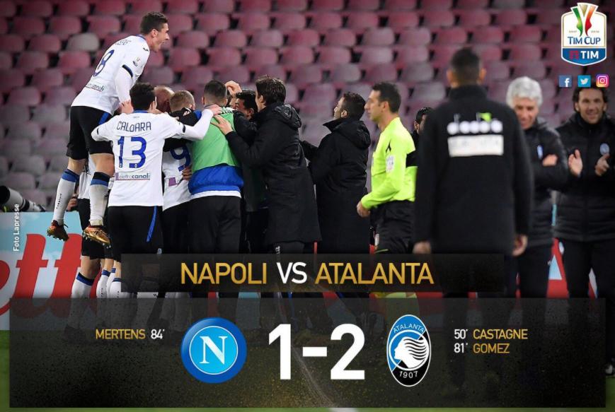Castagne e Papu Gomez affondano il Napoli al San Paolo: Atalanta in semifinale di Coppa Italia contro la vincente di Juventus-Torino