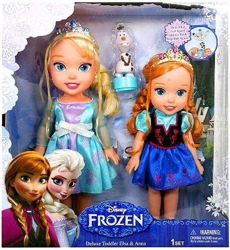 Best Frozen Gift Ideas: I love this pair of Elsa and Anna Toddler-style dolls!