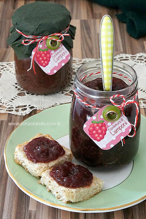 Confettura di lamponi con poco zucchero marmellata ricetta per prepararla in casa - raspberry jam recipe low sugar content