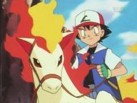 Ash montando a Ponyta
