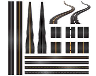 すべての講義 アルファベットノート : 舗装道路のイラスト Set of roads ...