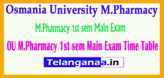 Osmania University M.Pharmacy 1st sem Main Exam Time Table 2018