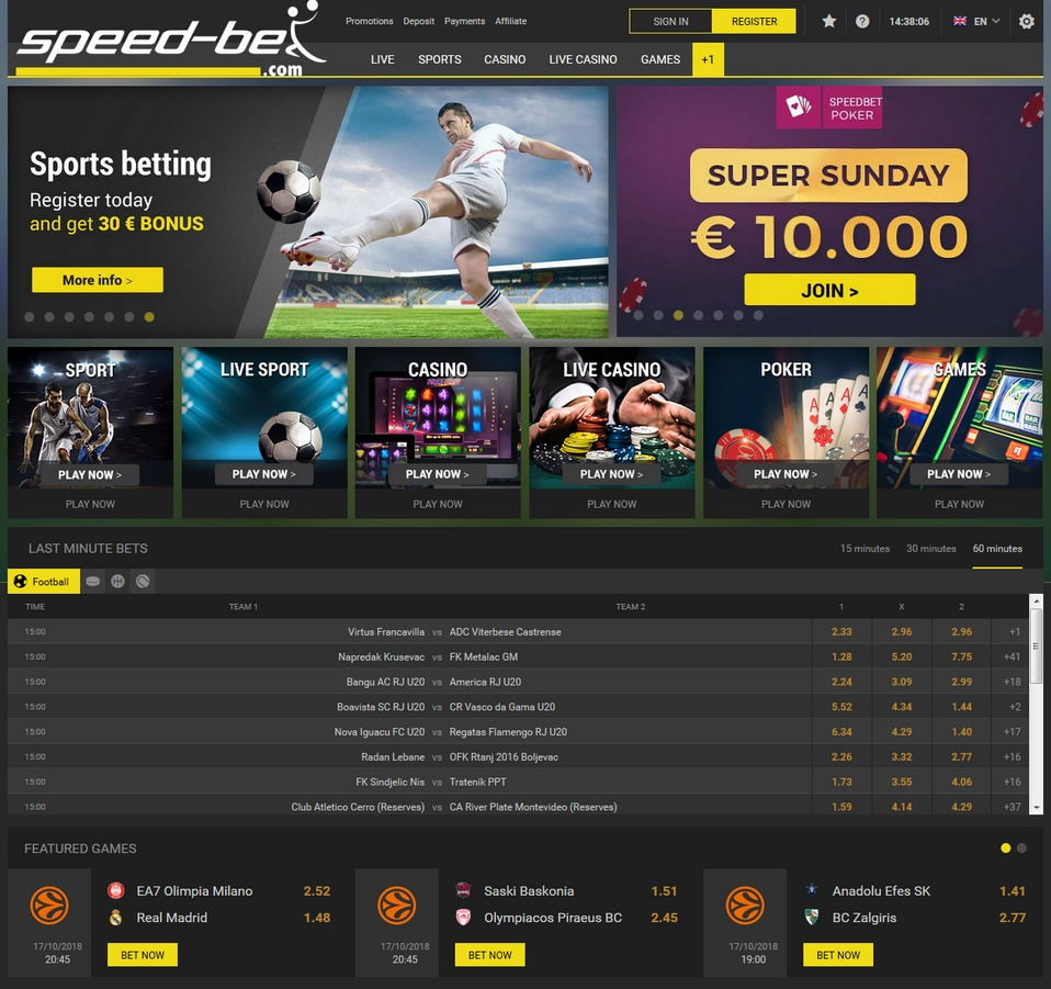 Speed-bet Screen