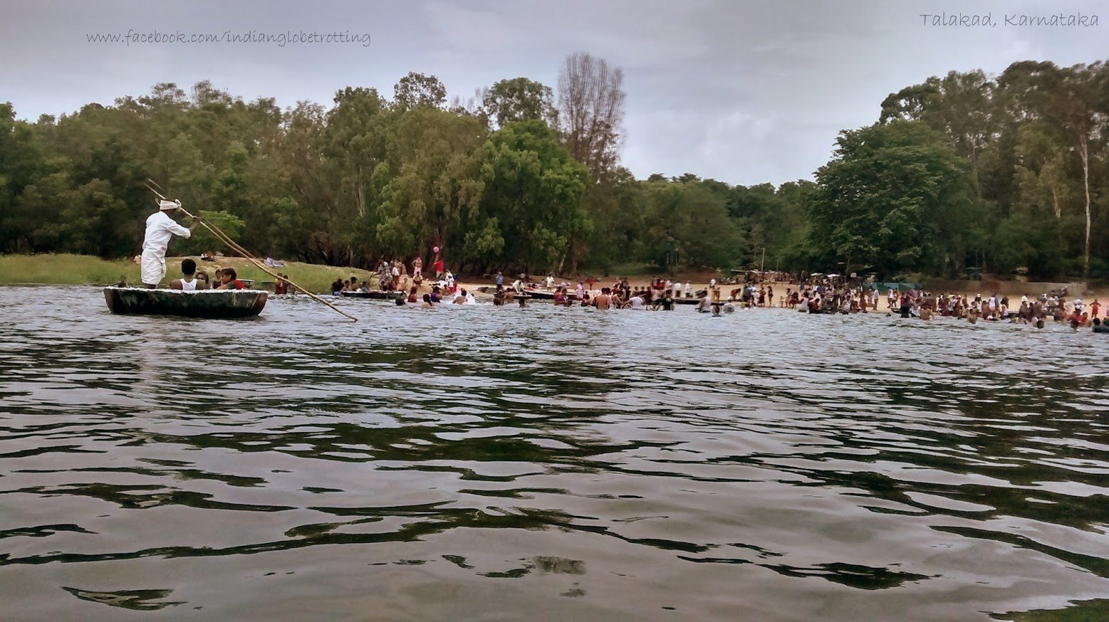 we can do a coracle ride in the kaveri river. the sand here looks like beech sand