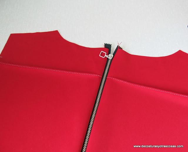 como coser una cremallera a la vista