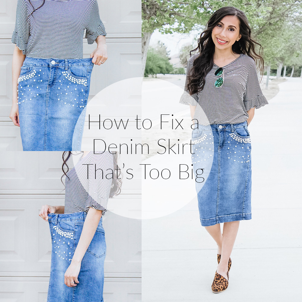 how to fix a denim skirt that's too big
