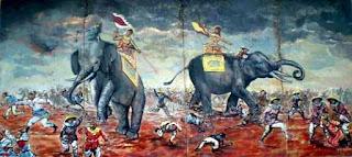 Las hermanas Trung a lomos de sendos elefantes