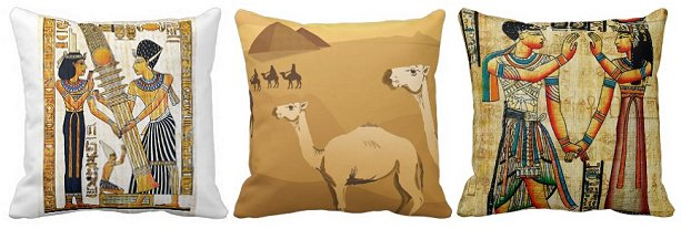 Egyptian themed throw pillows