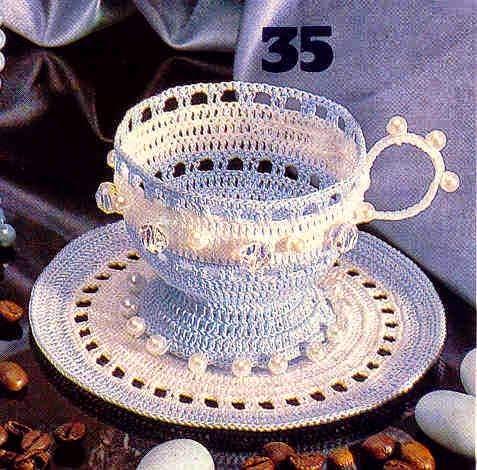 Taza con plato al crochet decoracion