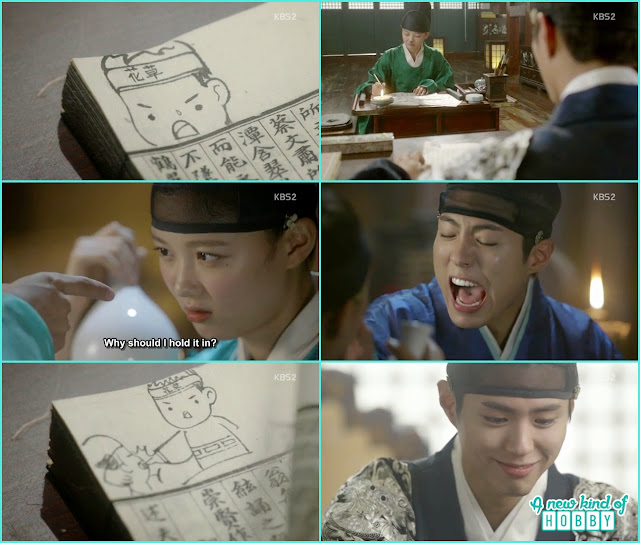 crown prince smile when saw the drawings on the book by ra on  - Love in The Moonlight - Episode 6 Review