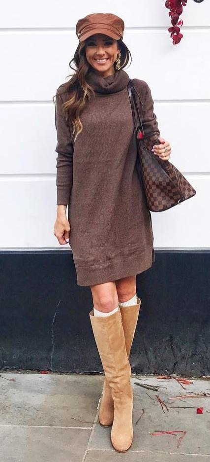 fashionable outfit _ hat + brown sweater dress + high boots