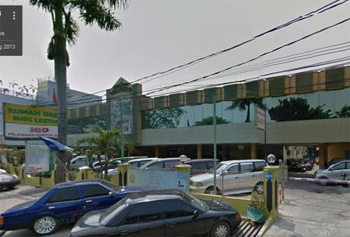 Rumah Sakit Budi Lestar Di Jalan K. H. Noer Alie / Raya Kalimalang No. 2, Kayuringin, Bekasi Selatan Bekasi, Jawa Barat, Indonesia 17144. Phone: 021-8842336.  Gambar dari Google