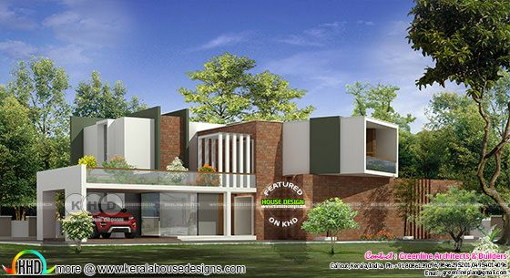 Contemporary style brick wall home architecture