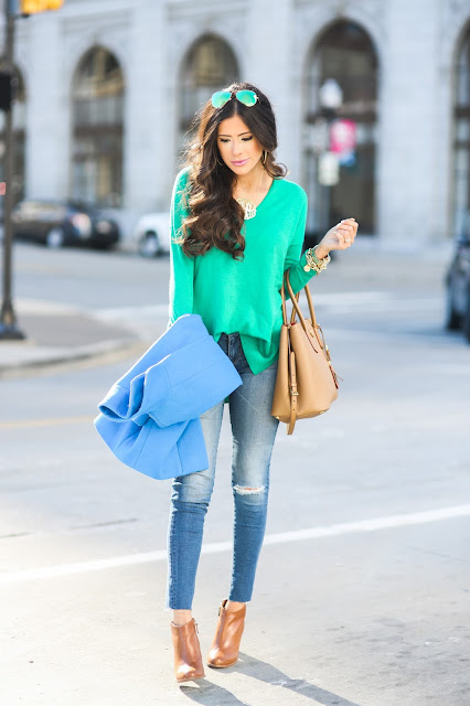 winter fashion pinterest, winter outfit idea pinterest, green trouve sweater nordstrom, AG jeans raw hem skinny jeans, oversized gold monogram, love always monogram, prada tan double tote, green mirrored ray ban aviators, cognac booties nordstrom, tan leather booties, how to style ripped jeans with tan booties, blue crew cocoon coat, brunette hair balayage medium length, brunette hair cut curls, david yurman statement rings, michael kors gold watch, david yurman alex ani bracelet stack