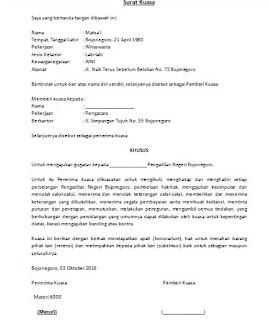 Contoh Surat Kuasa Khusus Yang Sering Digunakan Askarmi