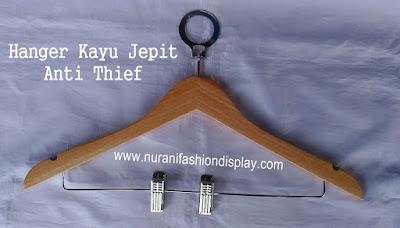 Hanger Kayu Jepit Anti Theft Anti pencuri
