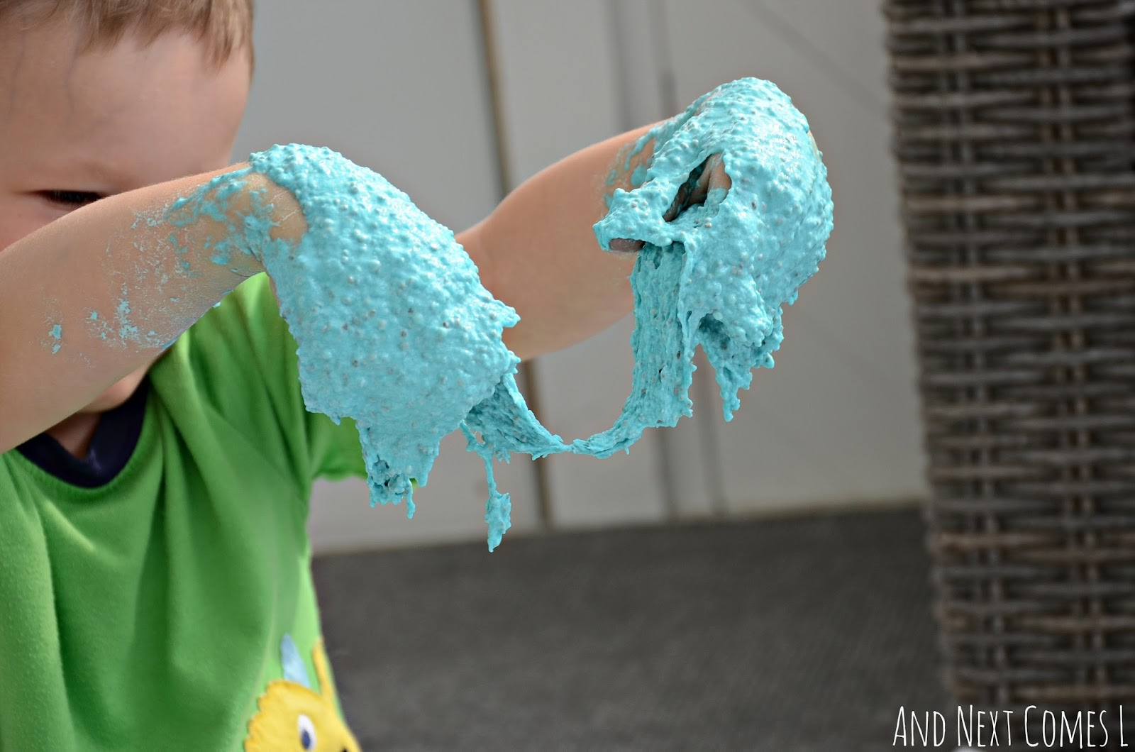 Sensory play for kids: stretching edible sludge from And Next Comes L
