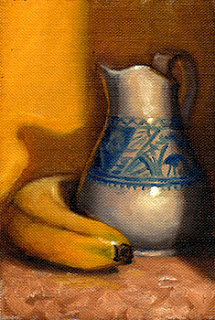 Oil painting of a banana beside a white porcelain jug with a blue design.