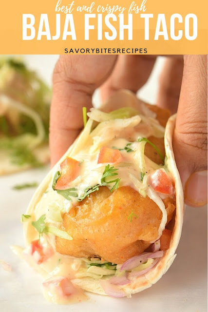 A close look of Baja fish taco with chipotle crema
