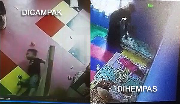 (Video) Pengasuh hempas & campak anak-anak taska