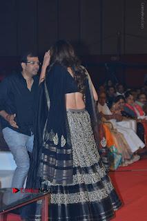 Pragya Jaiswal Stills in Black Dress at Om Namo Venkatesaya Audio Launch Event