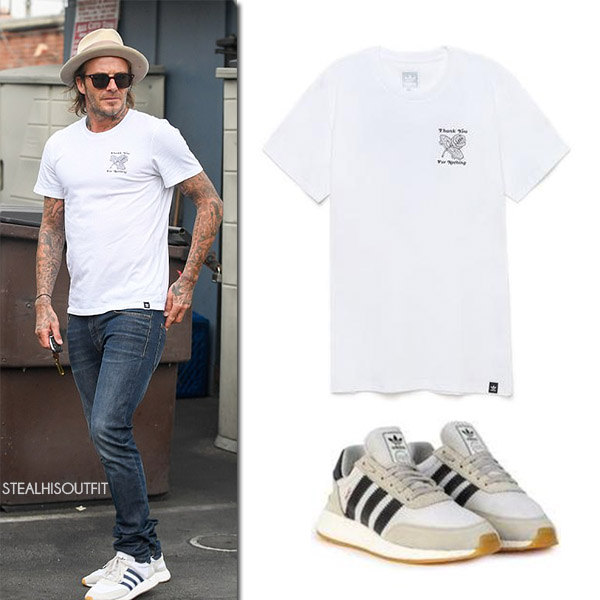 David Beckham in white t-shirt, jeans and white sneakers adidas originals mens celebrity casual fashion