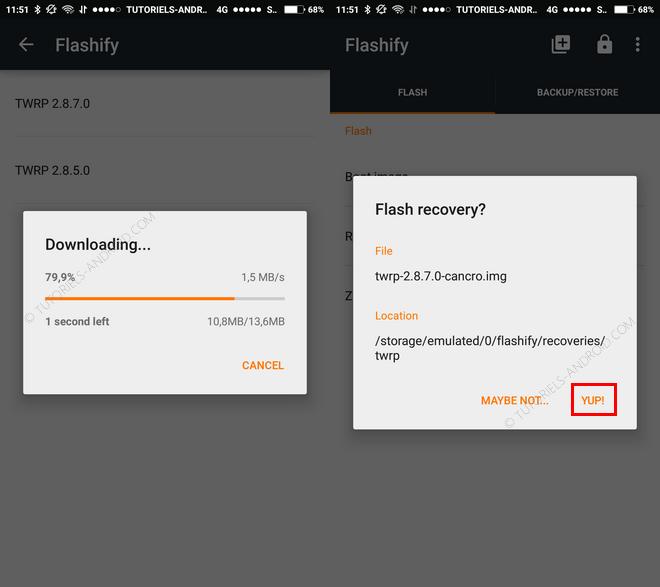 Télécharger et installer un custom recovery avec Flashify