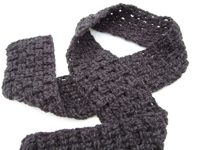 crochet, free pattern, scarf, basket weave, triple crochet, tutorial