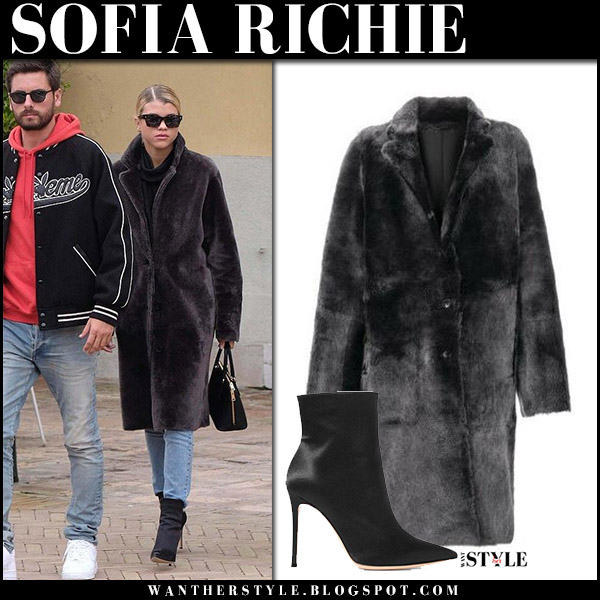 Sofia Richie in black shearling fur coat joseph and black ankle boots gianvito rossi october 18 2017 scott disick street fashion